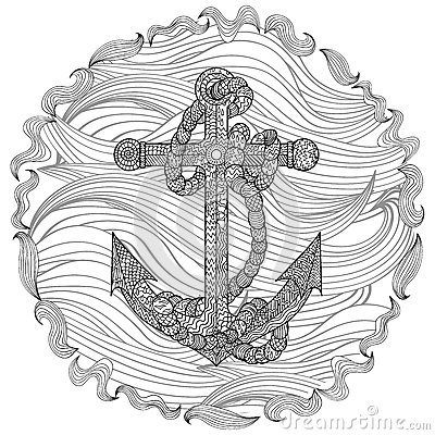 Hand drawn illustration of an anchor and rope stock for Coloring pages of anchors