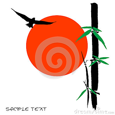 Hand drawn illustration of a bamboo and sun silhou