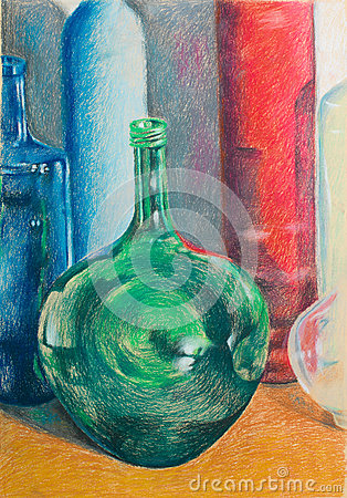 Hand drawn illustration of colorful bottles