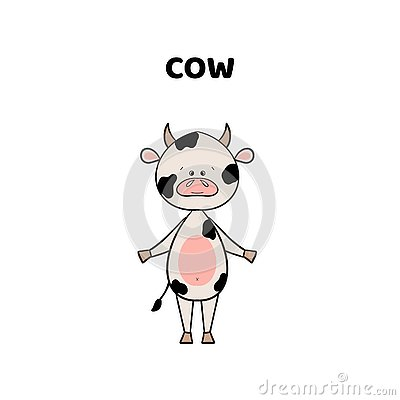 Cartoon a cute and funny cow . Cartoon Illustration