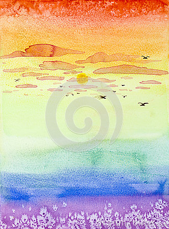 Free Hand Drawn Illustration Of Colorful Sunset Royalty Free Stock Photo - 30217585