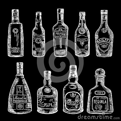 Free Hand Drawn Illustration Of Different Bottles Isolate On Dark Background. Vector Pictures Set Royalty Free Stock Photo - 94845995