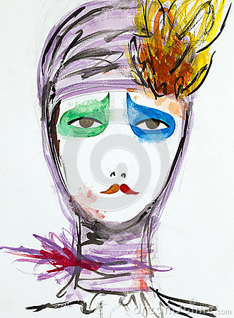 Free Hand Drawn Illustration Of Sad Clown Woman Royalty Free Stock Image - 30217536