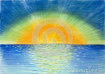 Hand drawn illustration of beautiful colorful sunrise