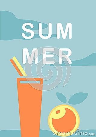 Hand-drawn illustration summer blue clouds background with fresh drink and orange. Cartoon Illustration