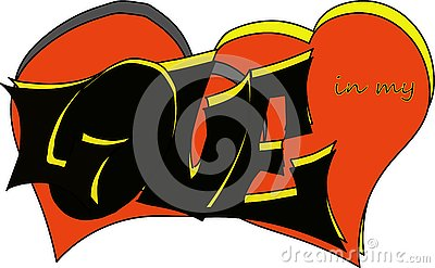 Hand-drawn inscription`love in my heart` made by a unique author`s font,using black and yellow colors, with a background of red he Vector Illustration