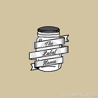 Hand drawn jar label template Stock Photo