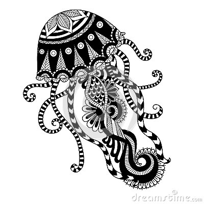 Free Hand Drawn Jellyfish Zentangle Style For Coloring Book, Shirt Design Or Tattoo Stock Images - 60911754