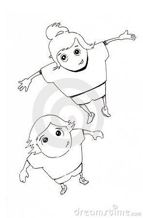 Hand drawn joyful boy and girl jumping
