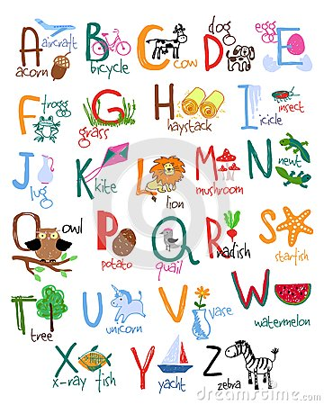 Hand drawn alphabet with words and icons. Vector kids ABC.