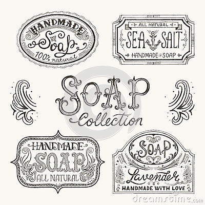Free Hand Drawn Labels And Patterns For Handmade Soap Bars. Stock Images - 54012204