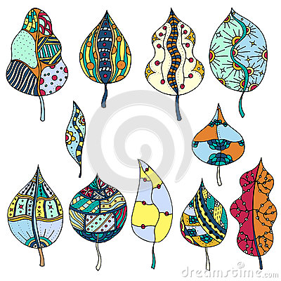 Free Hand Drawn Leafes Doodle Stock Photography - 66213982