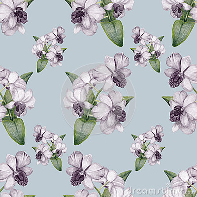 Hand-drawn lilac orchid vintage seamless pattern