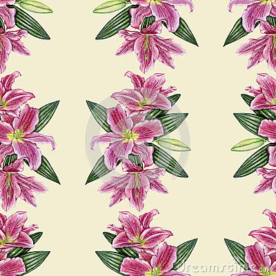 Hand-drawn lily seamless pattern