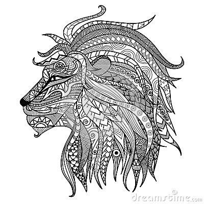 Free Hand Drawn Lion Coloring Page. Stock Photography - 59197472