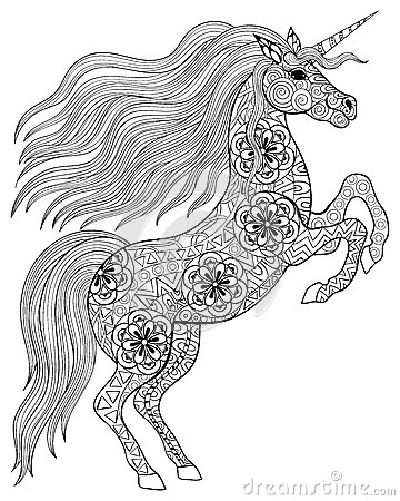 Free Hand Drawn Magic Unicorn For Adult Anti Stress Coloring Page Wit Stock Image - 58750611