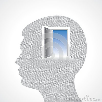 Hand drawn man s face with door in his head