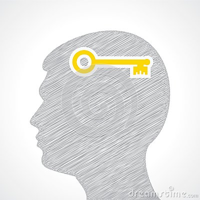 Hand drawn man s face with key in his head