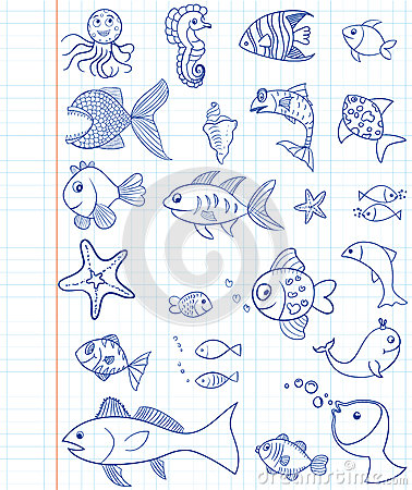 Hand drawn marine animals
