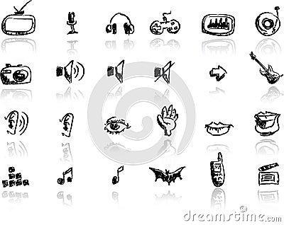 Hand drawn media icon set