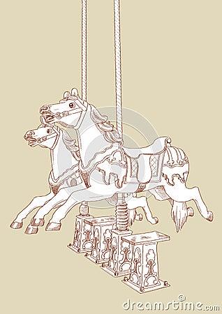Free Hand Drawn Merry-Go-Round Horse Stock Image - 19775361