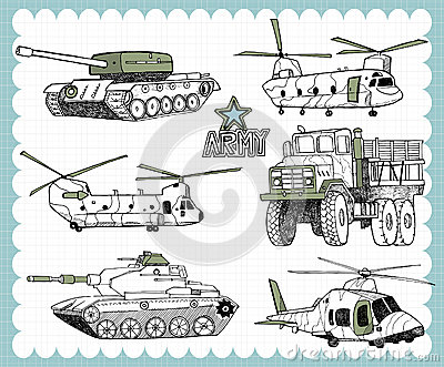 hand drawn military a stock illustration image 74632606