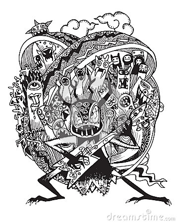 Hand drawn Monster rock band playing Rock music Vector Illustration