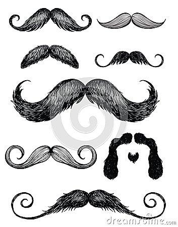 Free Hand Drawn Mustache Set 2 Royalty Free Stock Photos - 31718748