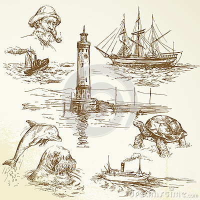 Free Hand Drawn Nautical Elements Royalty Free Stock Photos - 28529778