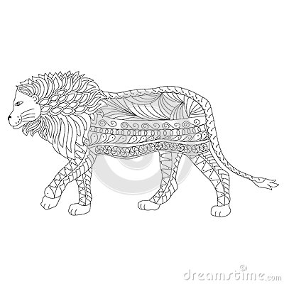 Hand Drawn Ornamental Outline Lion Body And Head Stock