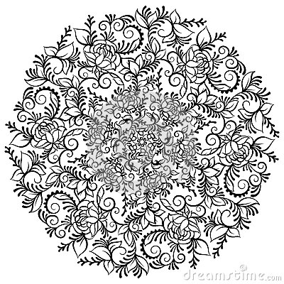Of Leaves And Swirls Isolated Vector Illustration Flower Mandala