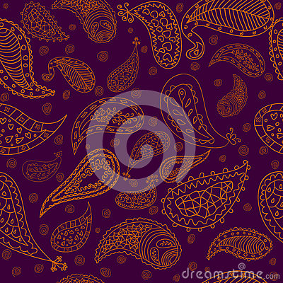 Hand drawn paisley elements vector seamless patter