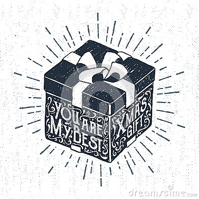 Free Hand Drawn Party Icon With Textured Gift Box Vector Illustration Stock Images - 80428104