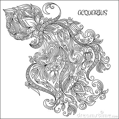 Hand Drawn Pattern For Coloring Book Zodiac Aquarius 400x400