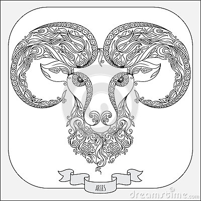 Hand Drawn Pattern For Coloring Book Zodiac Aries Stock