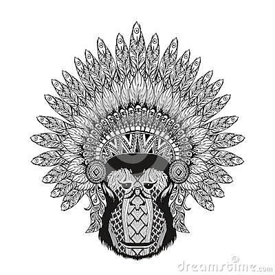 Free Hand Drawn Patterned Monkey In Zentangle Style With Feathered Wa Stock Photo - 58750620