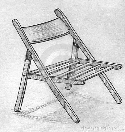 Hand drawn pencil sketch of a folding chair