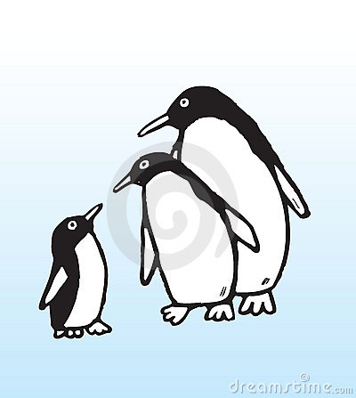 Hand drawn penguin family