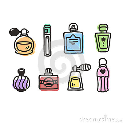 Free Hand Drawn Perfume Bottles Stock Images - 58232384