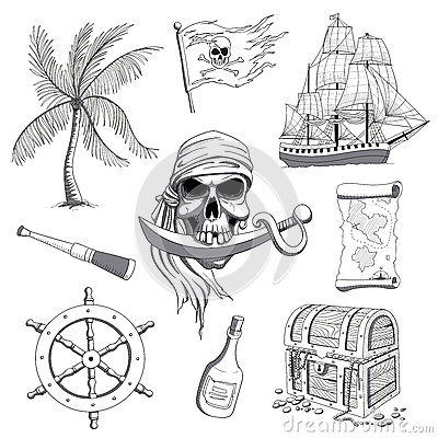 Free Hand Drawn Pirate Design Elements Royalty Free Stock Images - 69658299