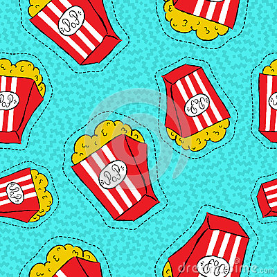 Free Hand Drawn Popcorn Bucket Patch Icon Pattern Royalty Free Stock Images - 78268639