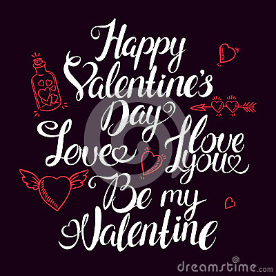 Hand drawn quotes for Valentine designe Vector Illustration