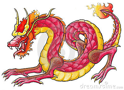 Hand drawn Red Dragon