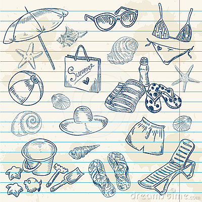 Free Hand Drawn Retro Icons Summer Beach Set Stock Images - 24554324