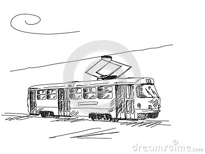 Hand drawn retro tram