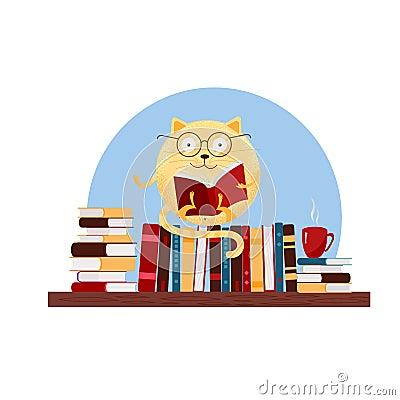 Hand drawn round fantasy cat in glasses sitting on bookshelf and reading book. Textured flat cartoon Vector illustration on white Cartoon Illustration