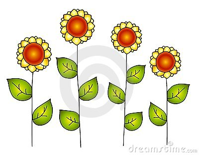 Hand Drawn Row of Vector Sunflowers