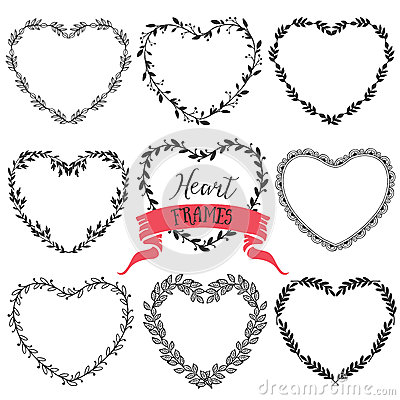 Free Hand Drawn Rustic Vintage Heart Wreaths. Floral Vector Graphic. Royalty Free Stock Photo - 50326135