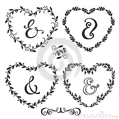 hand drawn rustic vintage heart wreaths with lettering stock vector image 54208287