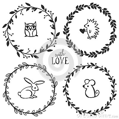Free Hand Drawn Rustic Vintage Wreaths With Lettering Royalty Free Stock Photography - 50326187